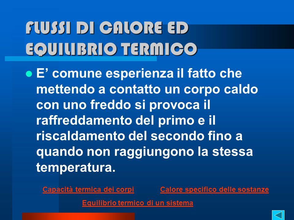 FLUSSI DI CALORE ED EQUILIBRIO TERMICO E comune esperienza il fatto che mettendo a contatto un corpo caldo con uno freddo si provoca il raffreddamento