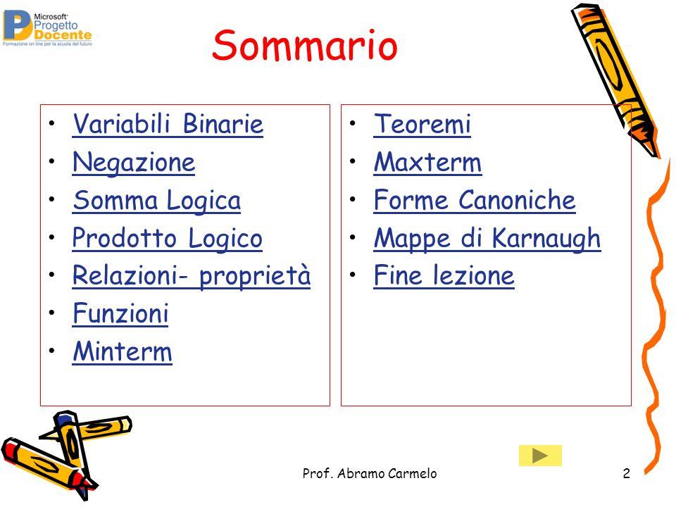 Prof. Abramo Carmelo2 Sommario Variabili Binarie Negazione Somma Logica Prodotto Logico Relazioni- proprietà Funzioni Minterm Teoremi Maxterm Forme Ca