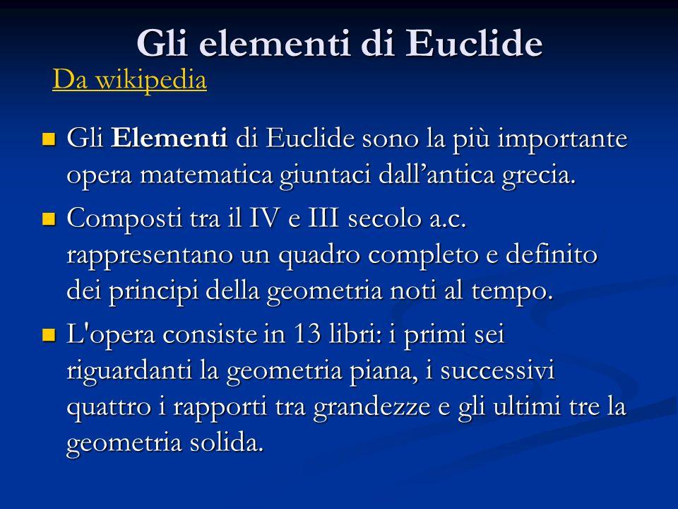 Gli elementi di Euclide Gli Elementi di Euclide sono la più importante opera matematica giuntaci dallantica grecia. Gli Elementi di Euclide sono la pi