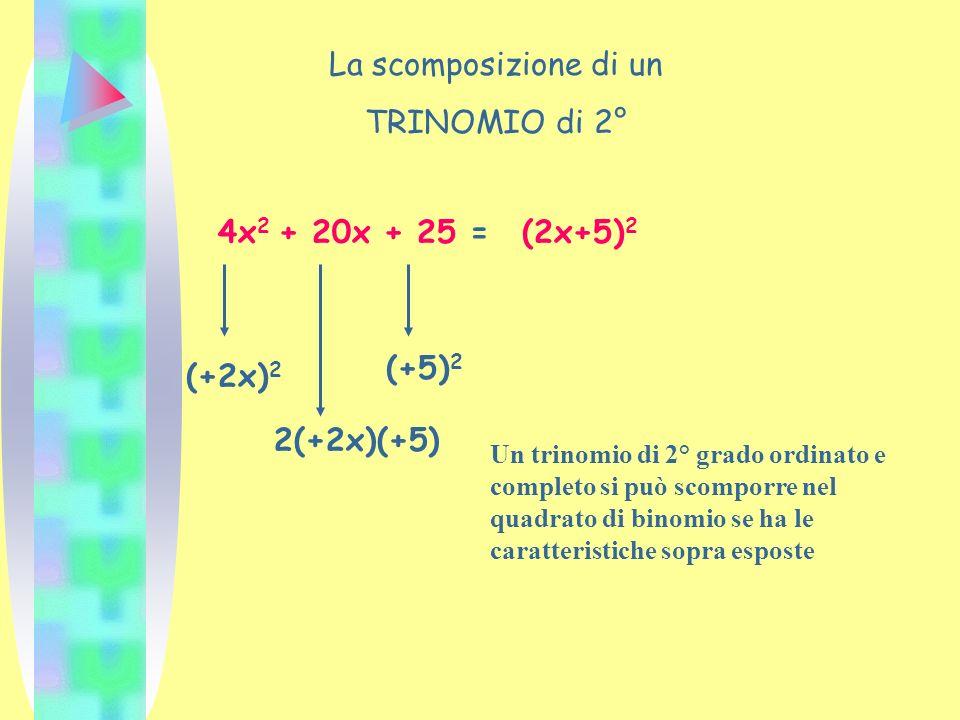 La scomposizione di un TRINOMIO di 2° 4x 2 + 20x + 25 = (+2x) 2 2(+2x)(+5) (+5) 2 (2x+5) 2 Un trinomio di 2° grado ordinato e completo si può scomporr