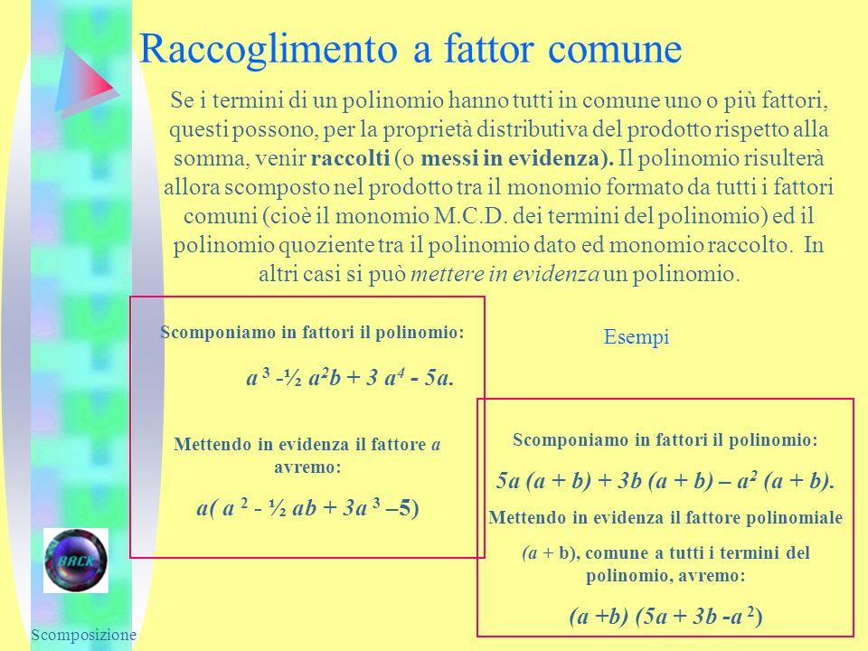 Raccoglimento a fattor comune Scomponiamo in fattori il polinomio: a 3 -½ a 2 b + 3 a 4 - 5a. Mettendo in evidenza il fattore a avremo: a( a 2 - ½ ab