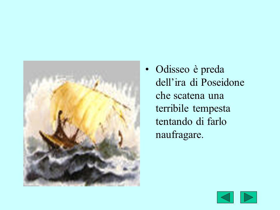 Odisseo riesce a salvarsi grazie allaiuto di alcune dee,ma in particolare alla sua intelligenza che gli permettono di raggiungere la terra dei Feaci,in particolare la riva di un dio fiume,dove stremato si addormenta.