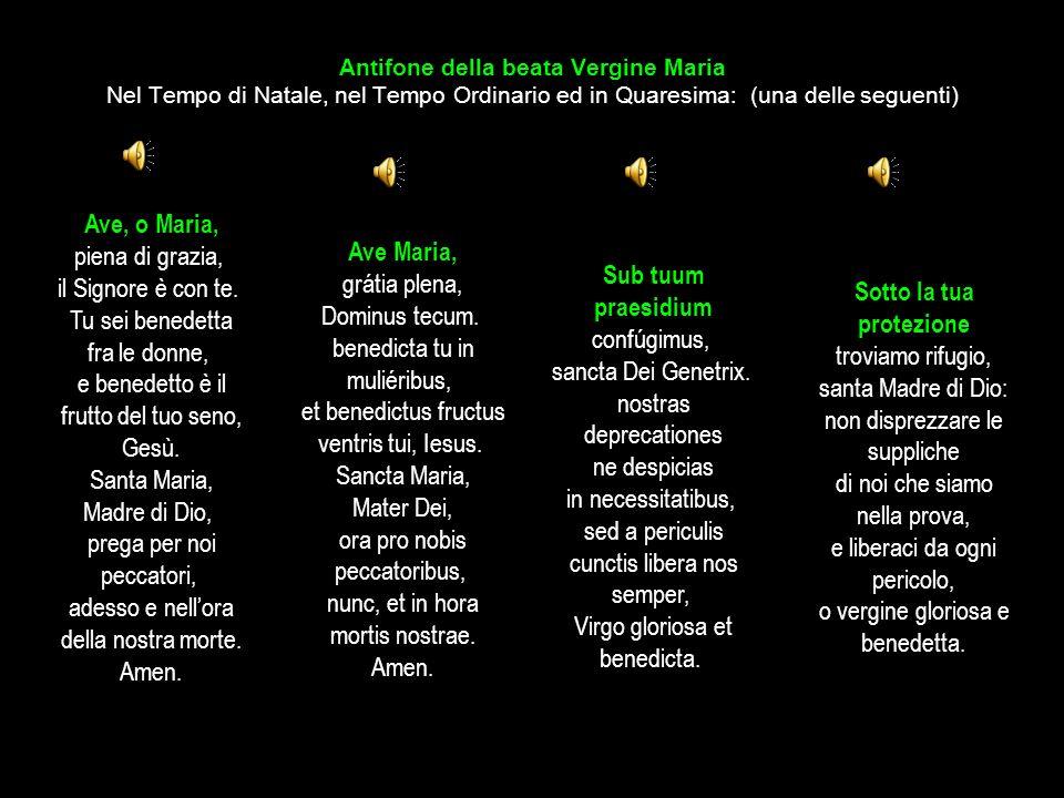 Antifone della beata Vergine Maria Nel Tempo di Natale, nel Tempo Ordinario ed in Quaresima: (una delle seguenti) Salve, o Regina, madre di misericord
