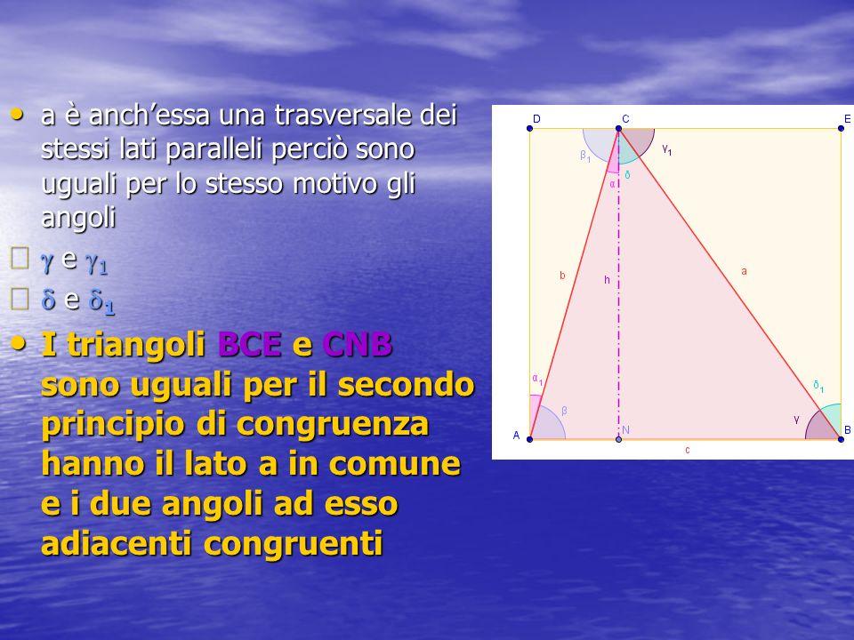 a è anchessa una trasversale dei stessi lati paralleli perciò sono uguali per lo stesso motivo gli angoli e 1 e 1 I triangoli BCE e CNB sono uguali per il secondo principio di congruenza hanno il lato a in comune e i due angoli ad esso adiacenti congruenti