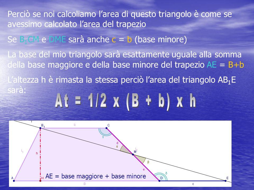 Perciò se noi calcoliamo l area di questo triangolo è come se avessimo calcolato l area del trapezio Se B 1 CM e DME sarà anche c = b (base minore) La base del mio triangolo sarà esattamente uguale alla somma della base maggiore e della base minore del trapezio AE = B+b L altezza h è rimasta la stessa perciò l area del triangolo AB 1 E sarà: AE = base maggiore + base minore