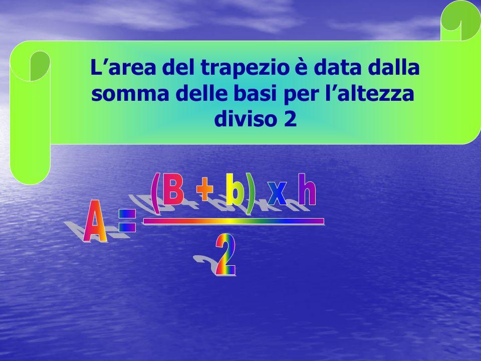 L area del trapezio è data dalla somma delle basi per l altezza diviso 2