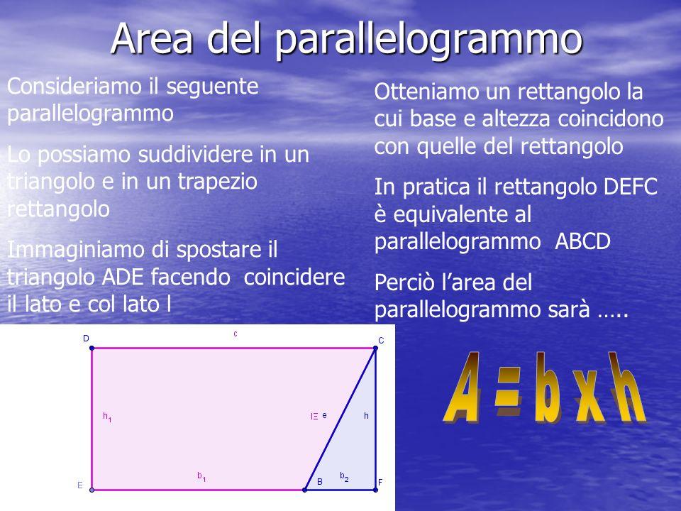 Area del parallelogrammo Consideriamo il seguente parallelogrammo Lo possiamo suddividere in un triangolo e in un trapezio rettangolo Immaginiamo di spostare il triangolo ADE facendo coincidere il lato e col lato l Otteniamo un rettangolo la cui base e altezza coincidono con quelle del rettangolo In pratica il rettangolo DEFC è equivalente al parallelogrammo ABCD Perciò larea del parallelogrammo sarà …..