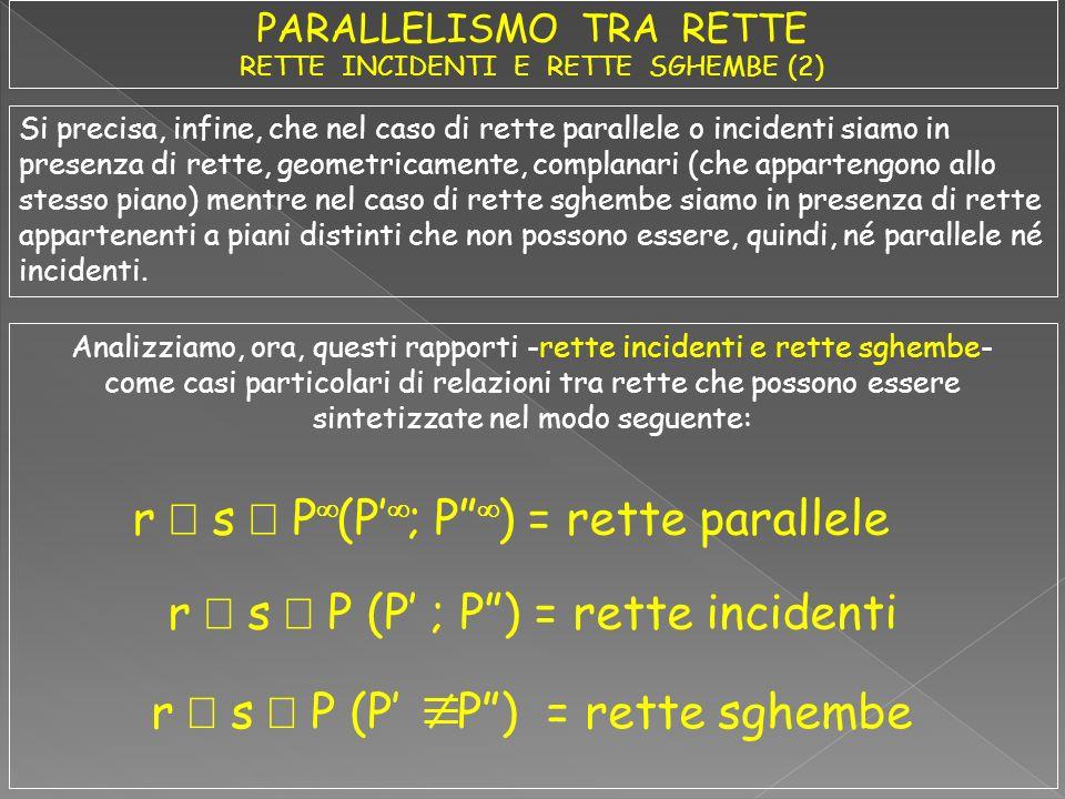 Si precisa, infine, che nel caso di rette parallele o incidenti siamo in presenza di rette, geometricamente, complanari (che appartengono allo stesso