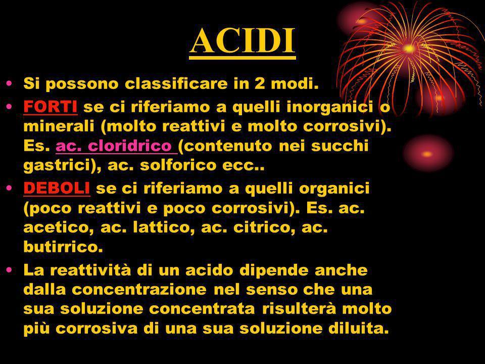 ACIDI Si possono classificare in 2 modi. FORTI se ci riferiamo a quelli inorganici o minerali (molto reattivi e molto corrosivi). Es. ac. cloridrico (