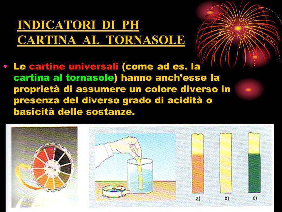 INDICATORI DI PH CARTINA AL TORNASOLE Le cartine universali (come ad es. la cartina al tornasole) hanno anchesse la proprietà di assumere un colore di