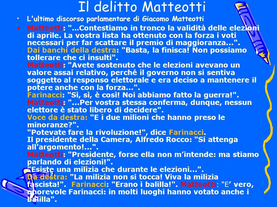 Il delitto Matteotti L'ultimo discorso parlamentare di Giacomo Matteotti Matteotti: