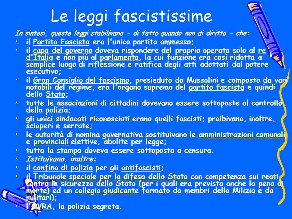 Le leggi fascistissime In sintesi, queste leggi stabilivano - di fatto quando non di diritto - che: il Partito Fascista era l'unico partito ammesso;Pa