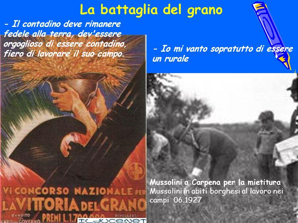 Mussolini a Carpena per la mietitura Mussolini in abiti borghesi al lavoro nei campi 06.1927 La battaglia del grano - Io mi vanto sopratutto di essere