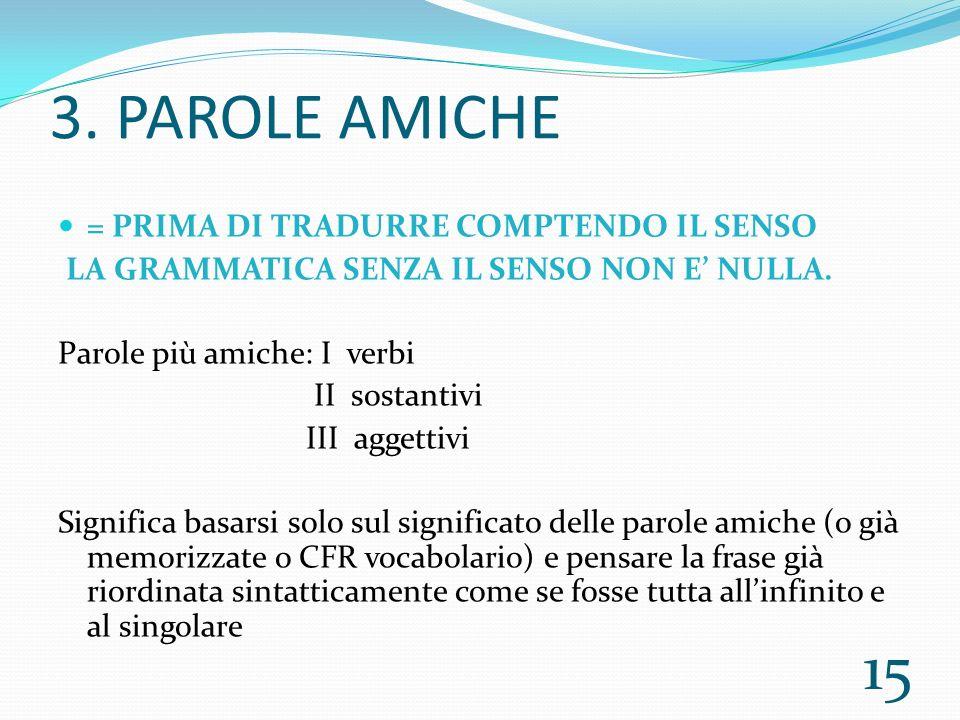 3.PAROLE AMICHE = PRIMA DI TRADURRE COMPTENDO IL SENSO LA GRAMMATICA SENZA IL SENSO NON E NULLA.