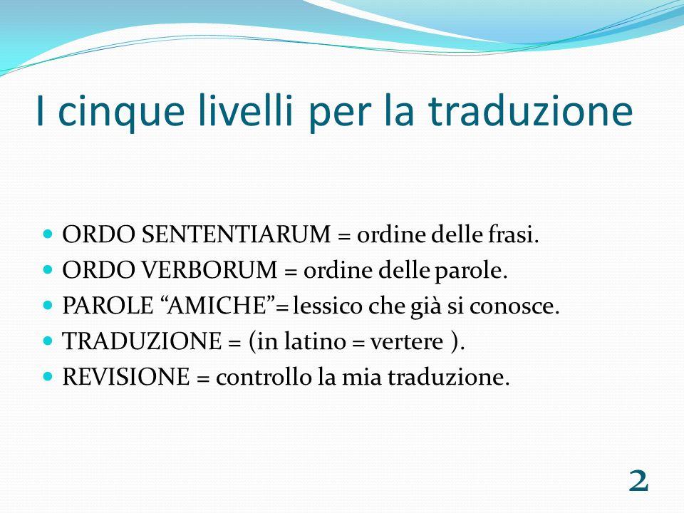 I cinque livelli per la traduzione ORDO SENTENTIARUM = ordine delle frasi.