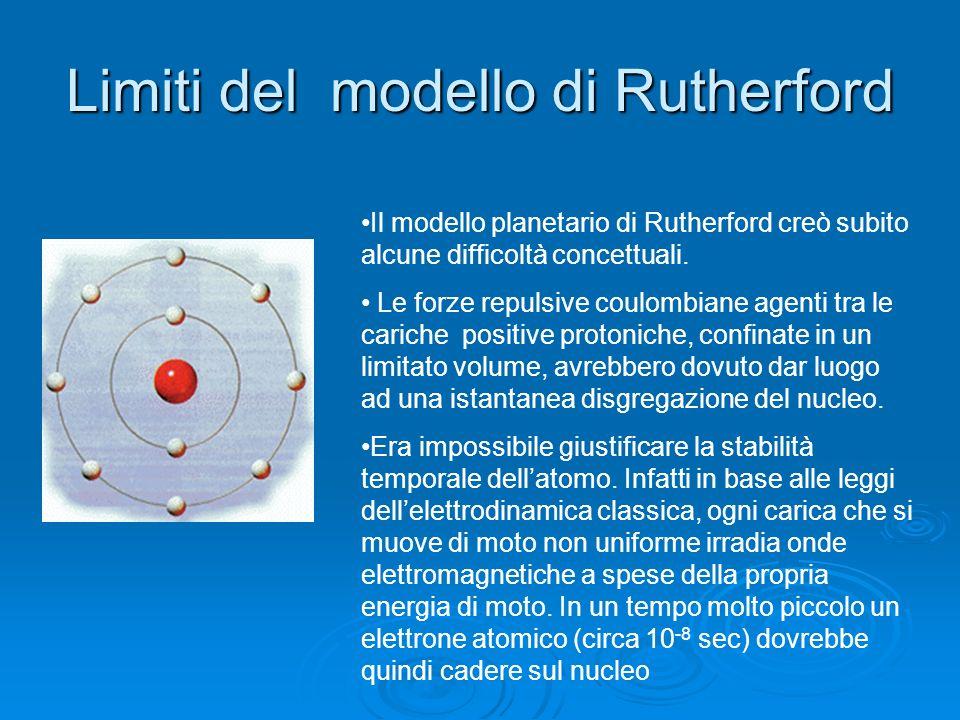 Il modello di Rutherford massa positiva nucleo Tra il 1908 e il 1911 Rutherford, per giustificare in termini razionali una celebre esperienza sulla di