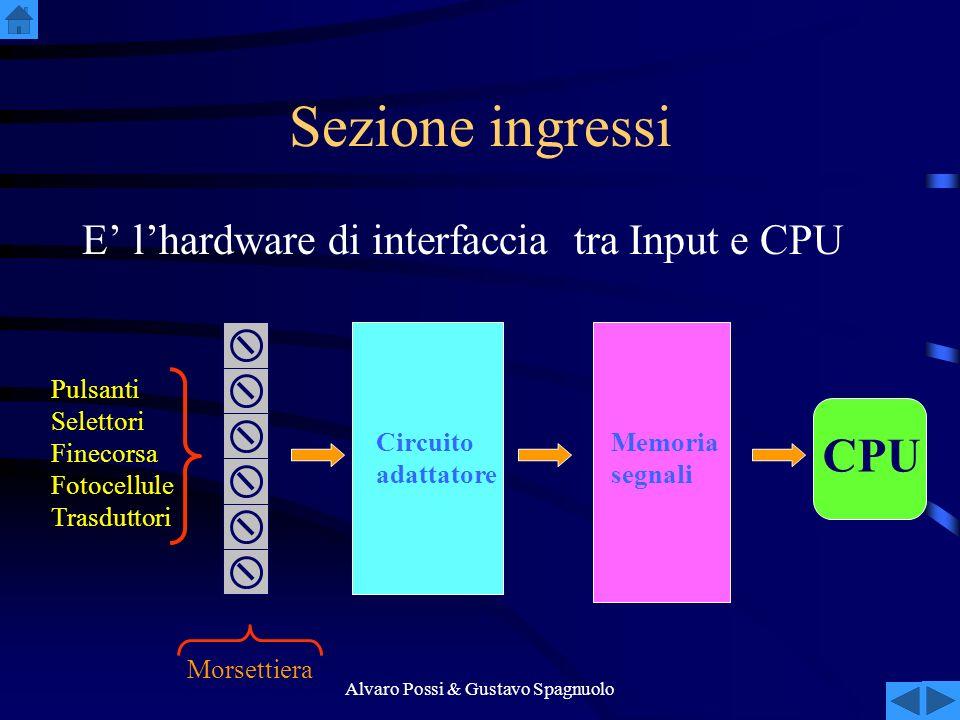 Alvaro Possi & Gustavo Spagnuolo Sezione ingressi E lhardware di interfaccia tra Input e CPU Pulsanti Selettori Finecorsa Fotocellule Trasduttori Circuito adattatore Memoria segnali CPU Morsettiera