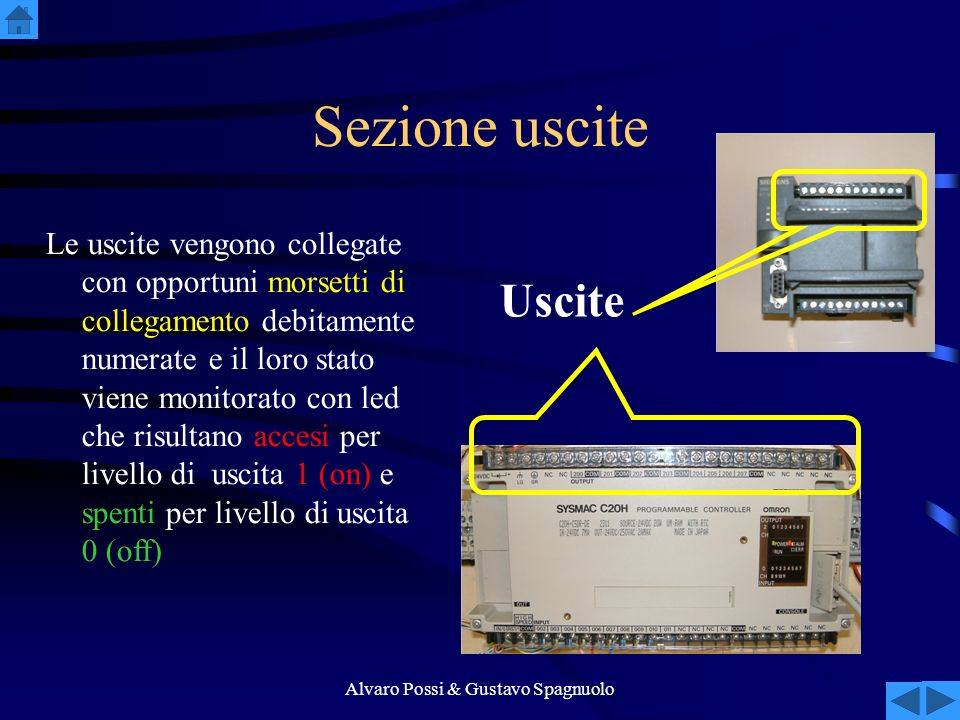 Alvaro Possi & Gustavo Spagnuolo Sezione uscite Le uscite vengono collegate con opportuni morsetti di collegamento debitamente numerate e il loro stato viene monitorato con led che risultano accesi per livello di uscita 1 (on) e spenti per livello di uscita 0 (off) Uscite