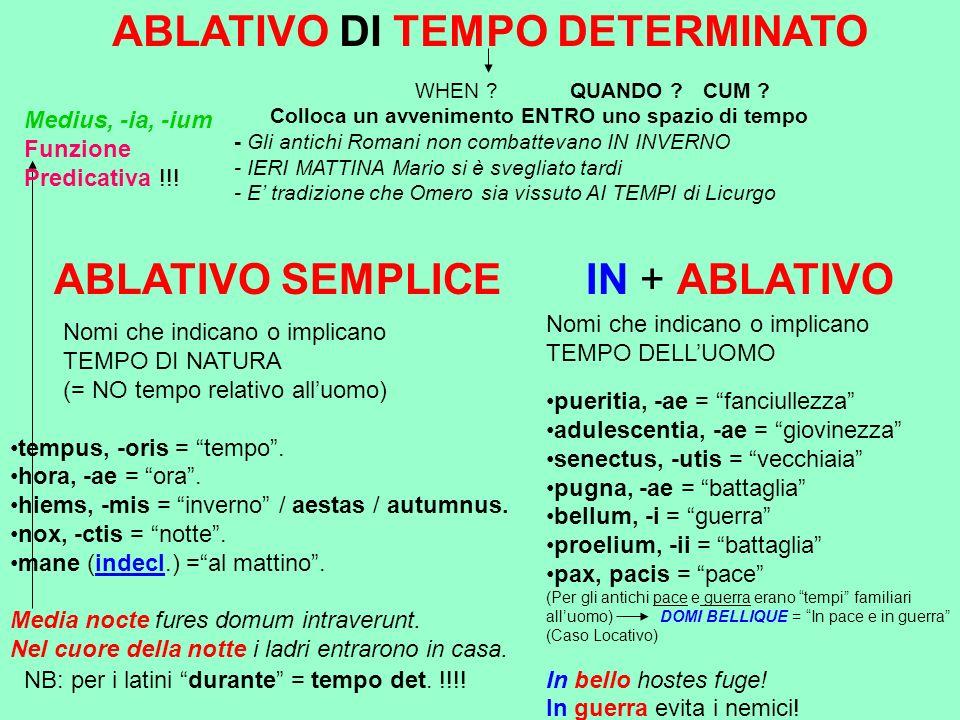 CASO PARTICOLARE SE il nome di TEMPO DELLUOMO è accompagnato da ATTRIBUTO ………..