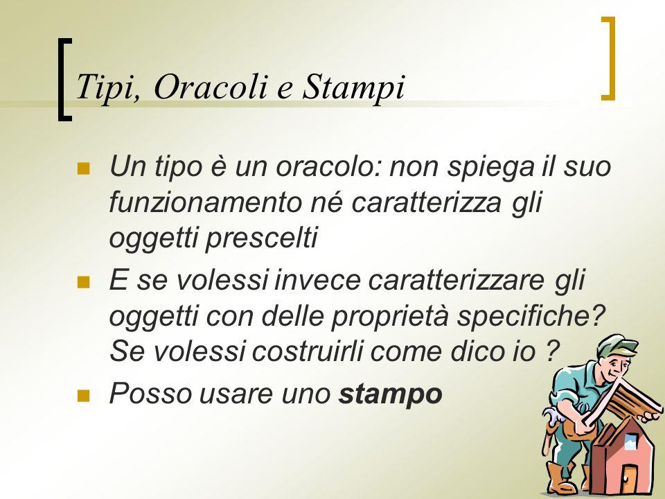 Tipi, Oracoli e Stampi Un tipo è un oracolo: non spiega il suo funzionamento né caratterizza gli oggetti prescelti E se volessi invece caratterizzare gli oggetti con delle proprietà specifiche.