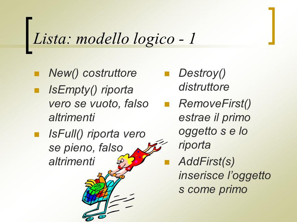 Lista: modello logico - 1 New() costruttore IsEmpty() riporta vero se vuoto, falso altrimenti IsFull() riporta vero se pieno, falso altrimenti Destroy() distruttore RemoveFirst() estrae il primo oggetto s e lo riporta AddFirst(s) inserisce loggetto s come primo