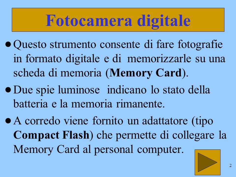 2 Fotocamera digitale Questo strumento consente di fare fotografie in formato digitale e di memorizzarle su una scheda di memoria (Memory Card).