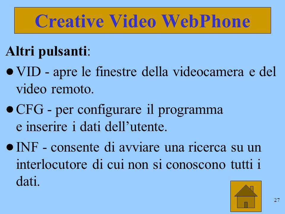 27 Creative Video WebPhone Altri pulsanti: VID - apre le finestre della videocamera e del video remoto.