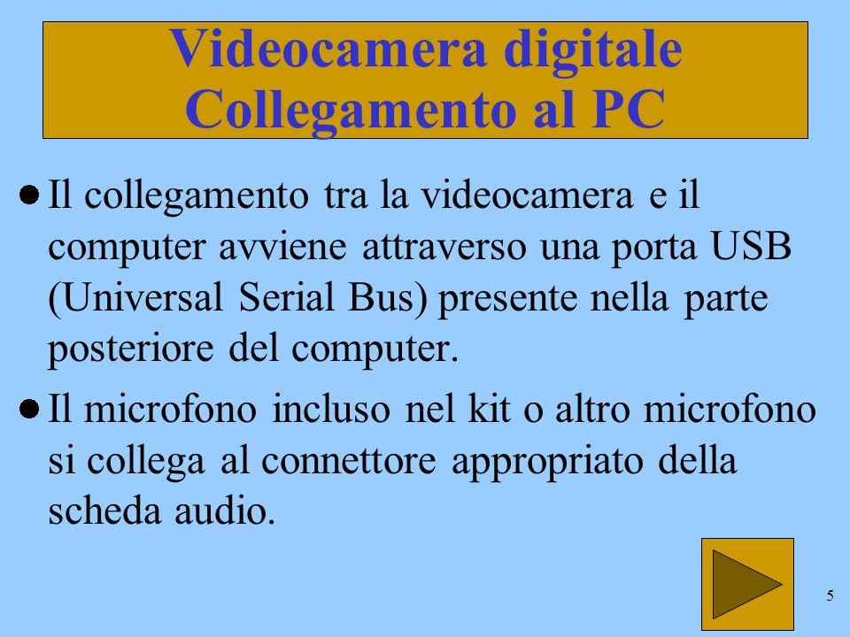 4 Videocamera digitale Con la videocamera digitale è possibile: Comunicare in videoconferenza con tutto il mondo.