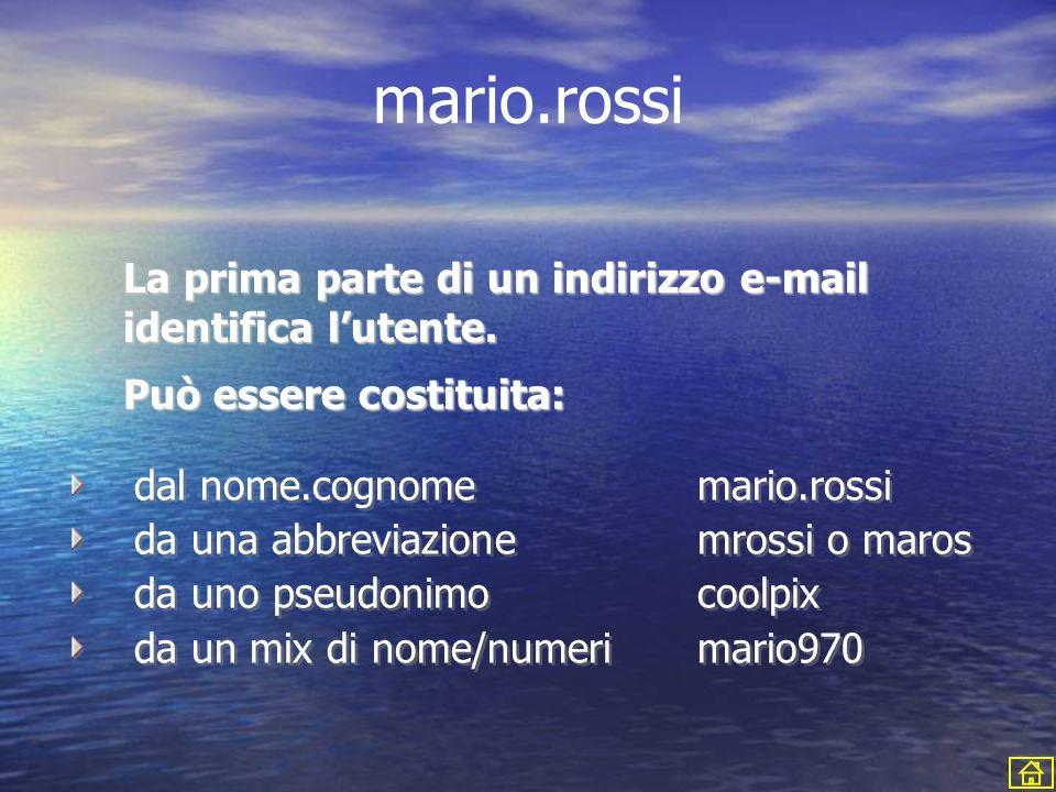 mario.rossi@istruzione.it Lindirizzo di posta elettronica si divide in tre parti che andremo ad analizzare in dettaglio.
