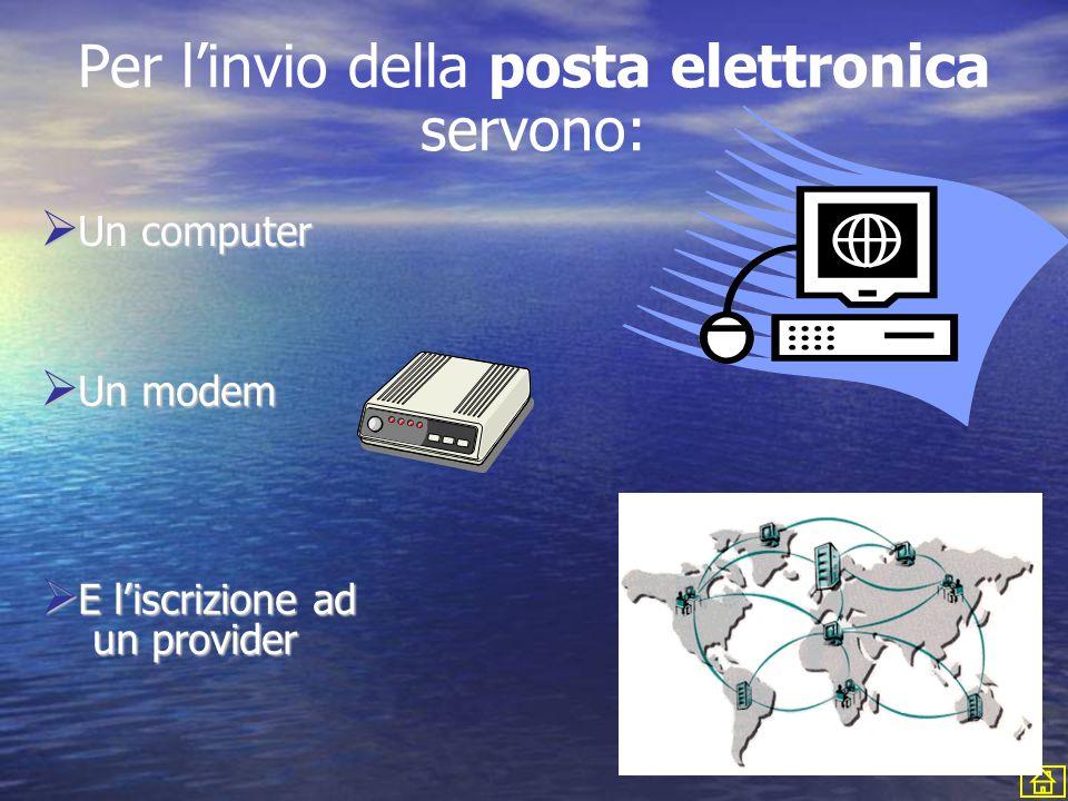 U Un computer n modem E E liscrizione ad un provider Per linvio della posta elettronica servono: