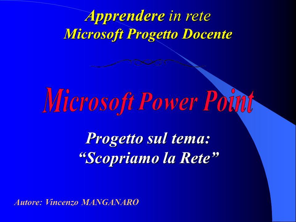 Apprendere in rete Microsoft Progetto Docente Progetto sul tema: Scopriamo la Rete Autore: Vincenzo MANGANARO