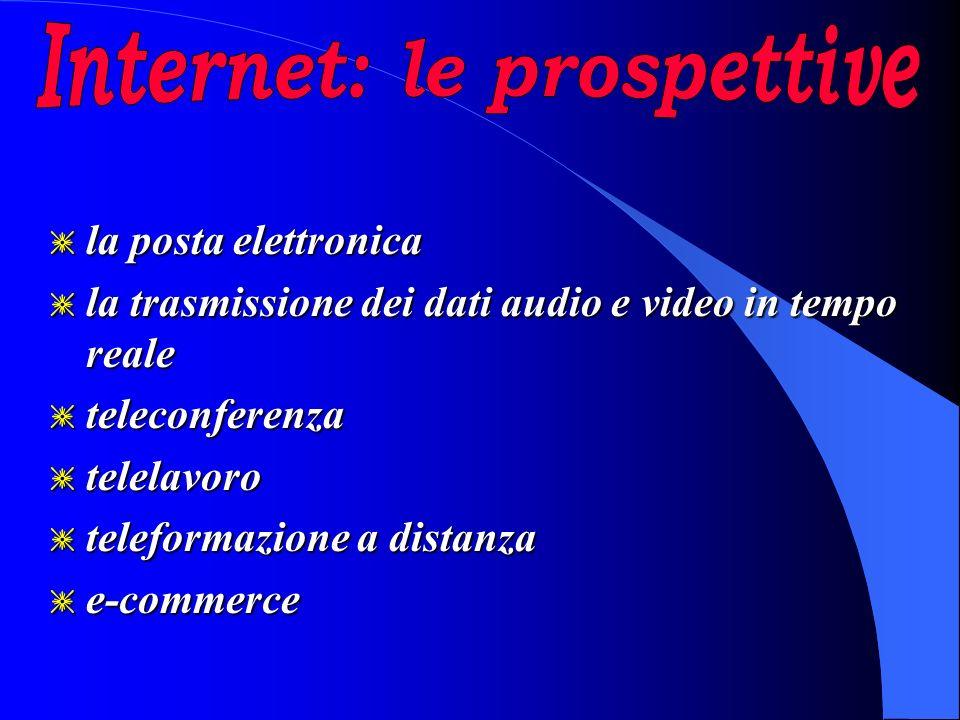 g la posta elettronica g la trasmissione dei dati audio e video in tempo reale g teleconferenza g telelavoro g teleformazione a distanza g e-commerce