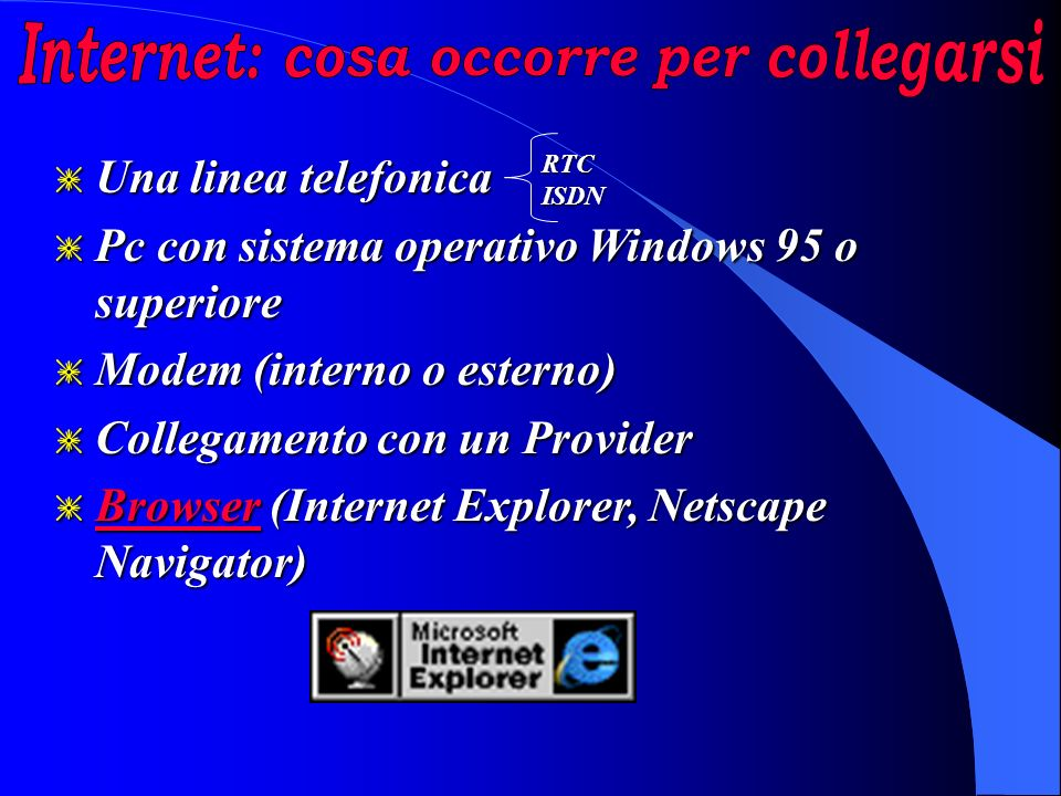 g Una linea telefonica g Pc con sistema operativo Windows 95 o superiore g Modem (interno o esterno) g Collegamento con un Provider g Browser (Internet Explorer, Netscape Navigator) Browser RTCISDN