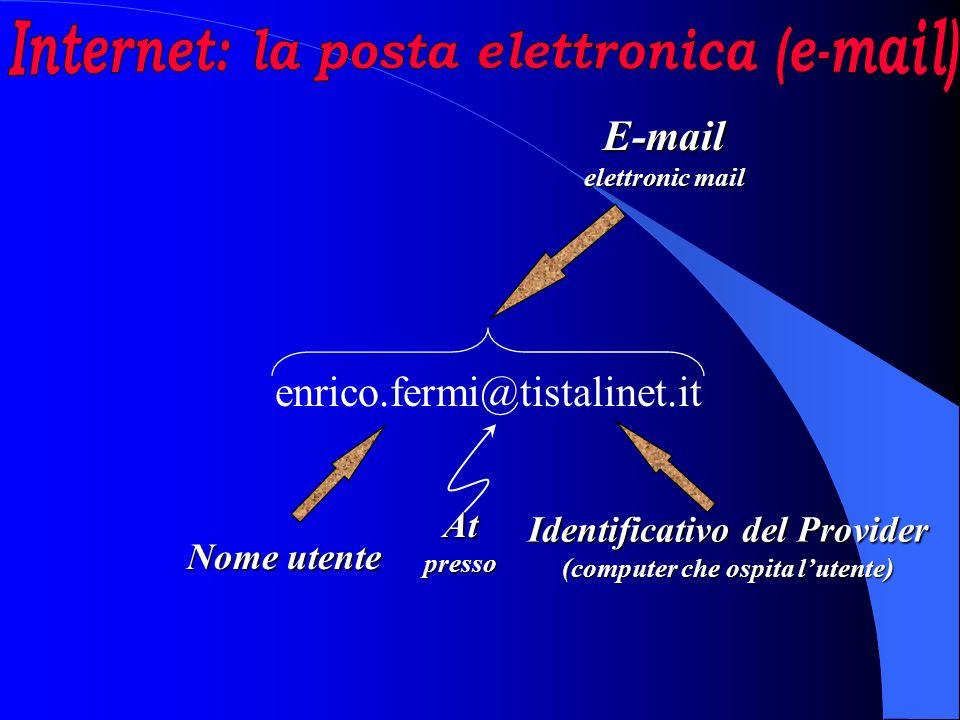enrico.fermi@tistalinet.it E-mail elettronic mail Atpresso Identificativo del Provider (computer che ospita lutente) Nome utente