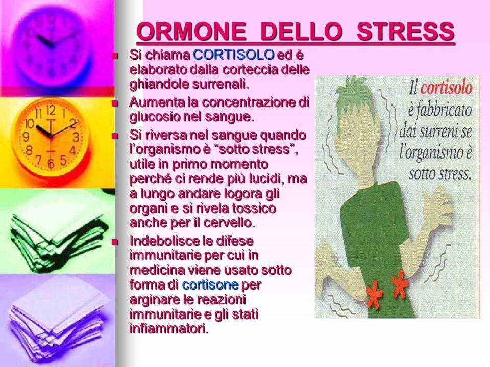 ORMONE DELLO STRESS Si chiama CORTISOLO ed è elaborato dalla corteccia delle ghiandole surrenali. Si chiama CORTISOLO ed è elaborato dalla corteccia d