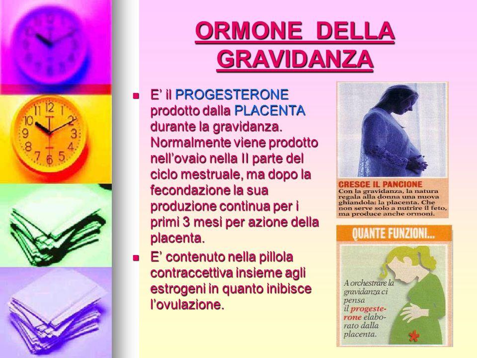ORMONE DELLA GRAVIDANZA E il PROGESTERONE prodotto dalla PLACENTA durante la gravidanza. Normalmente viene prodotto nellovaio nella II parte del ciclo