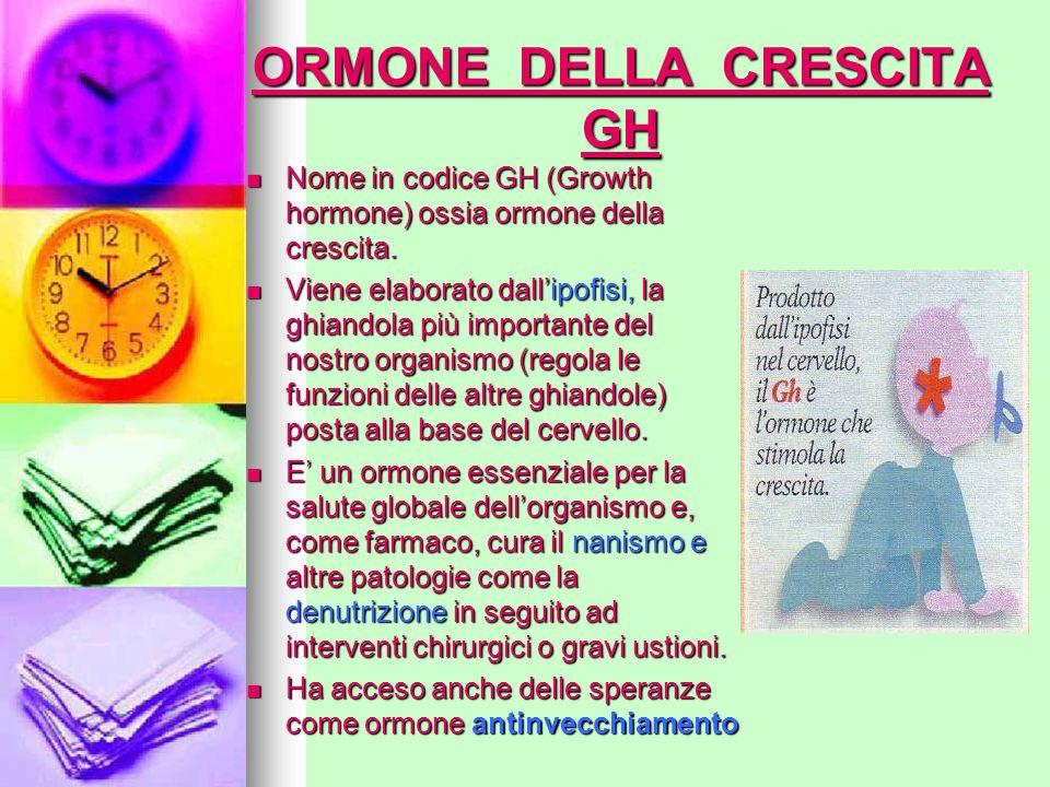 ORMONE DELLA CRESCITA GH Nome in codice GH (Growth hormone) ossia ormone della crescita. Viene elaborato dallipofisi, la ghiandola più importante del