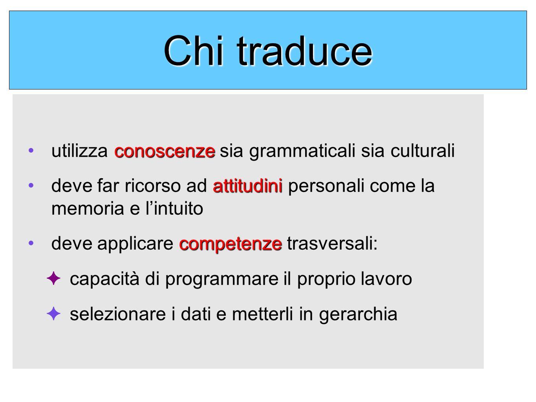 Chi traduce conoscenzeutilizza conoscenze sia grammaticali sia culturali attitudinideve far ricorso ad attitudini personali come la memoria e lintuito