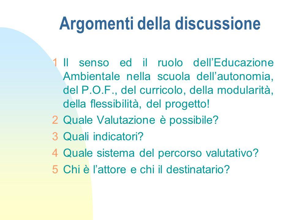 Argomenti della discussione 1Il senso ed il ruolo dellEducazione Ambientale nella scuola dellautonomia, del P.O.F., del curricolo, della modularità, d