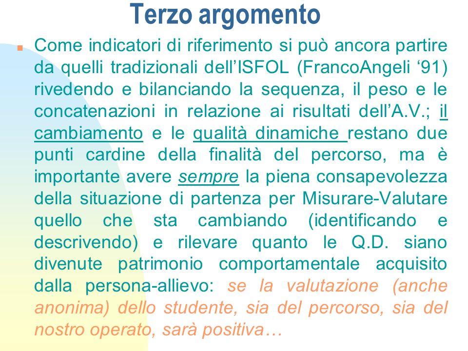 Terzo argomento n Come indicatori di riferimento si può ancora partire da quelli tradizionali dellISFOL (FrancoAngeli 91) rivedendo e bilanciando la s