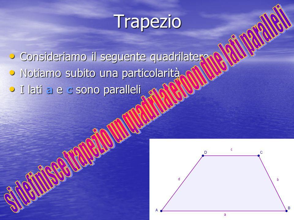 Trapezio Consideriamo il seguente quadrilatero Notiamo subito una particolarità I lati a e c sono paralleli