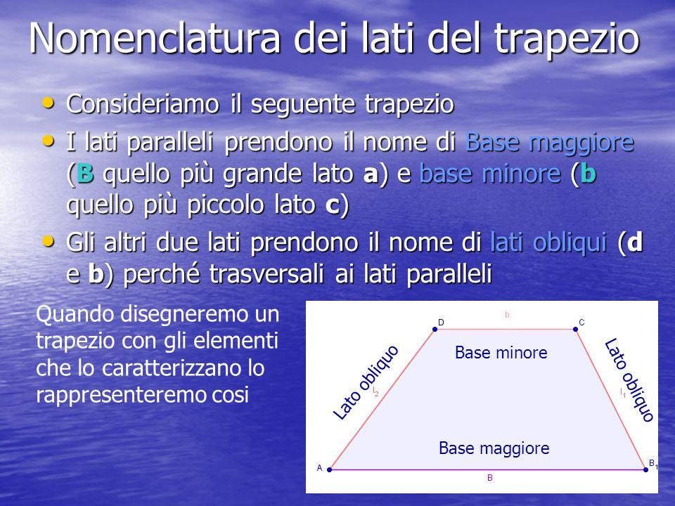 Nomenclatura dei lati del trapezio Consideriamo il seguente trapezio I lati paralleli prendono il nome di Base maggiore (B quello più grande lato a) e