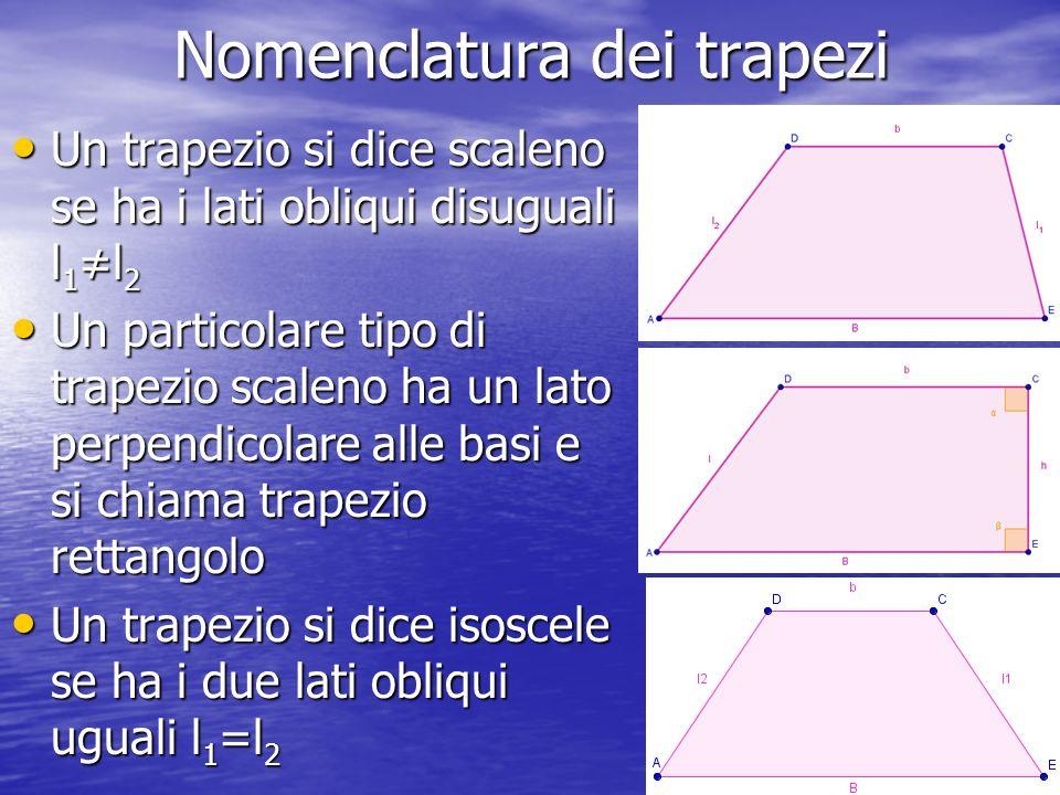 Nomenclatura dei trapezi Un trapezio si dice scaleno se ha i lati obliqui disuguali l 1 l 2 Un trapezio si dice scaleno se ha i lati obliqui disuguali