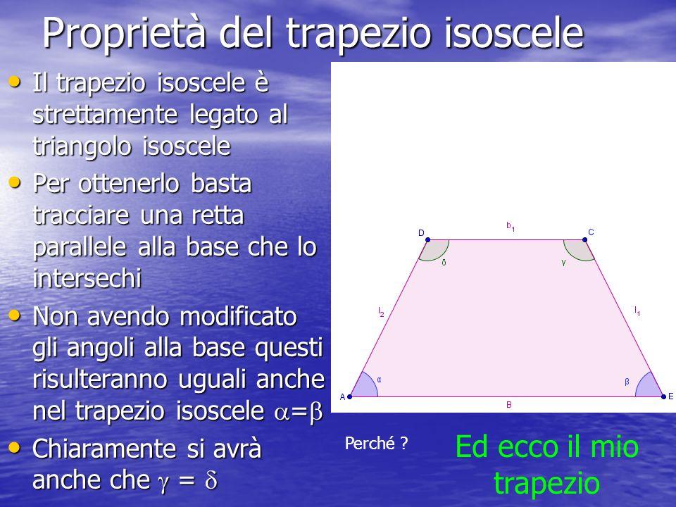 Proprietà del trapezio isoscele Il trapezio isoscele è strettamente legato al triangolo isoscele Per ottenerlo basta tracciare una retta parallele all