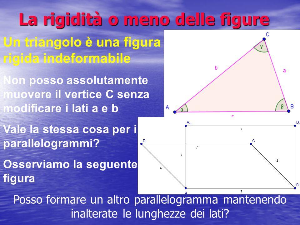 La rigidità o meno delle figure Un triangolo è una figura rigida indeformabile Non posso assolutamente muovere il vertice C senza modificare i lati a