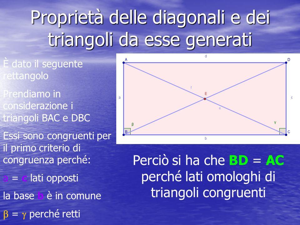 Proprietà delle diagonali e dei triangoli da esse generati È dato il seguente rettangolo Prendiamo in considerazione i triangoli BAC e DBC Essi sono c
