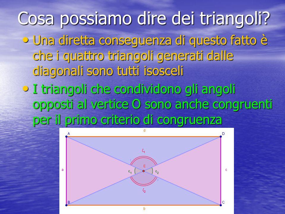 Cosa possiamo dire dei triangoli? Una diretta conseguenza di questo fatto è che i quattro triangoli generati dalle diagonali sono tutti isosceli I tri
