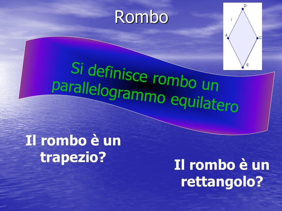 Rombo S i d e f i n i s c e r o m b o u n p a r a l l e l o g r a m m o e q u i l a t e r o Il rombo è un trapezio? Il rombo è un rettangolo?