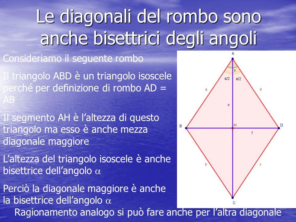 Le diagonali del rombo sono anche bisettrici degli angoli Consideriamo il seguente rombo Il triangolo ABD è un triangolo isoscele perché per definizio
