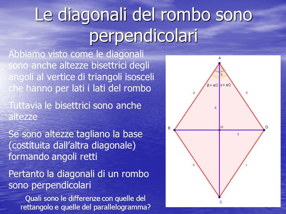 Le diagonali del rombo sono perpendicolari Abbiamo visto come le diagonali sono anche altezze bisettrici degli angoli al vertice di triangoli isosceli